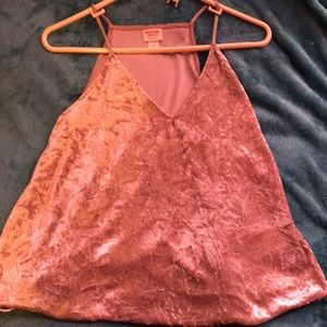 Pink Crushed Velvet Mossimo Tank Top